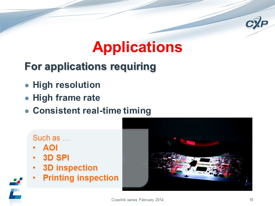 Applications For applications requiring High resolution High frame rate Consistent real-time timing Coaxlink series, February 201418 Such as … AOI 3D SPI 3D inspection Printing inspection Such as … AOI 3D SPI 3D inspection Printing inspection