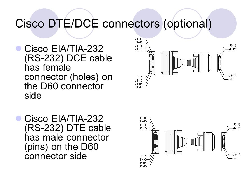 Cisco DTE/DCE connectors (optional) Cisco EIA/TIA-232 (RS-232) DCE cable has female connector (holes) on the D60 connector side Cisco EIA/TIA-232 (RS-232) DTE cable has male connector (pins) on the D60 connector side