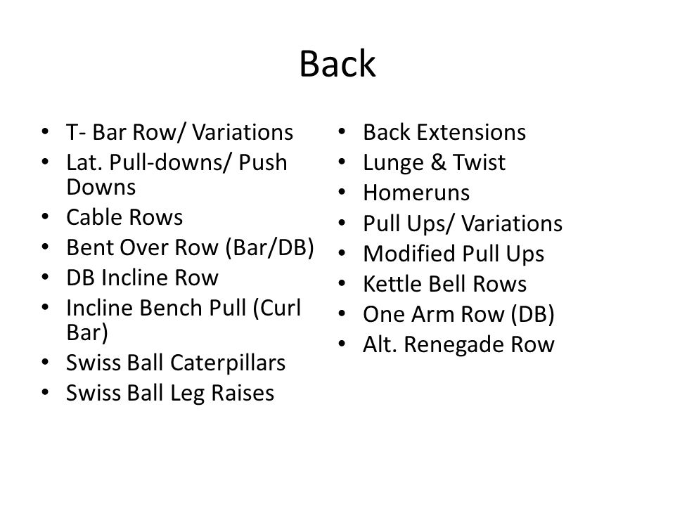 Back T- Bar Row/ Variations Lat. Pull-downs/ Push Downs Cable Rows Bent Over Row (Bar/DB) DB Incline Row Incline Bench Pull (Curl Bar) Swiss Ball Cate