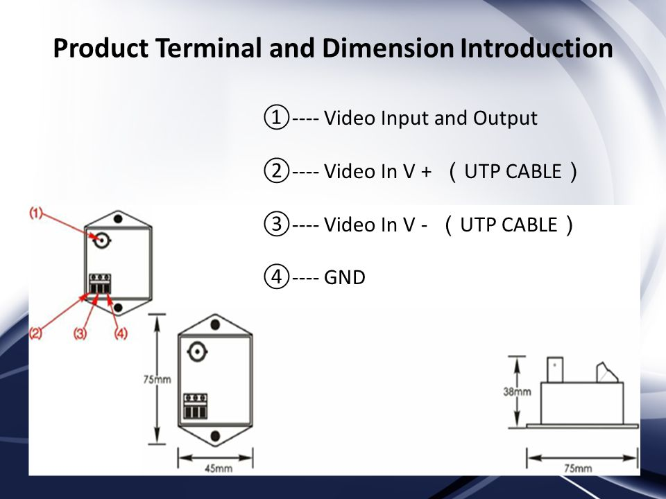 Product Terminal and Dimension Introduction ---- Video Input and Output ---- Video In V + UTP CABLE ---- Video In V - UTP CABLE ---- GND
