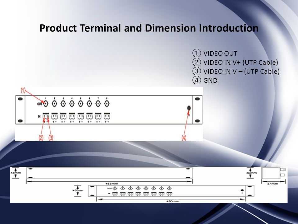 Product Terminal and Dimension Introduction VIDEO OUT VIDEO IN V+ (UTP Cable) VIDEO IN V – (UTP Cable) GND