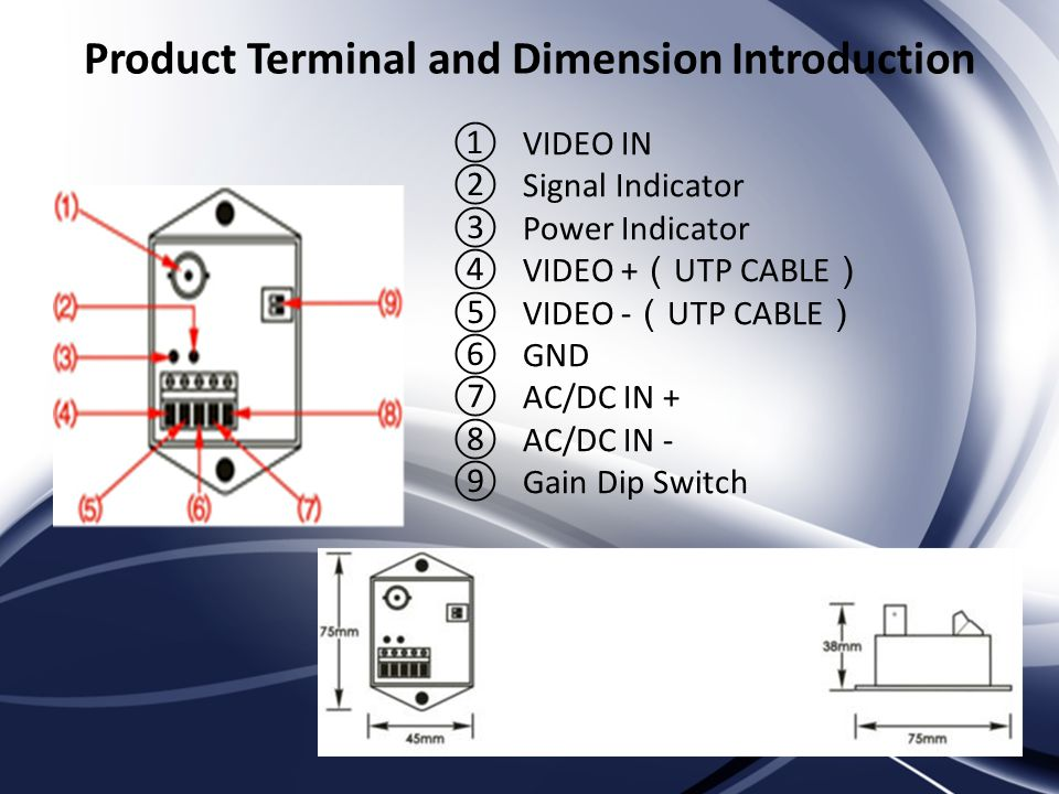 Product Terminal and Dimension Introduction VIDEO IN Signal Indicator Power Indicator VIDEO + UTP CABLE VIDEO - UTP CABLE GND AC/DC IN + AC/DC IN - Gain Dip Switch