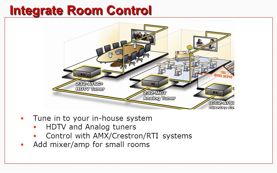 Integrate Room Control Tune in to your in-house system HDTV and Analog tuners Control with AMX/Crestron/RTI systems Add mixer/amp for small rooms