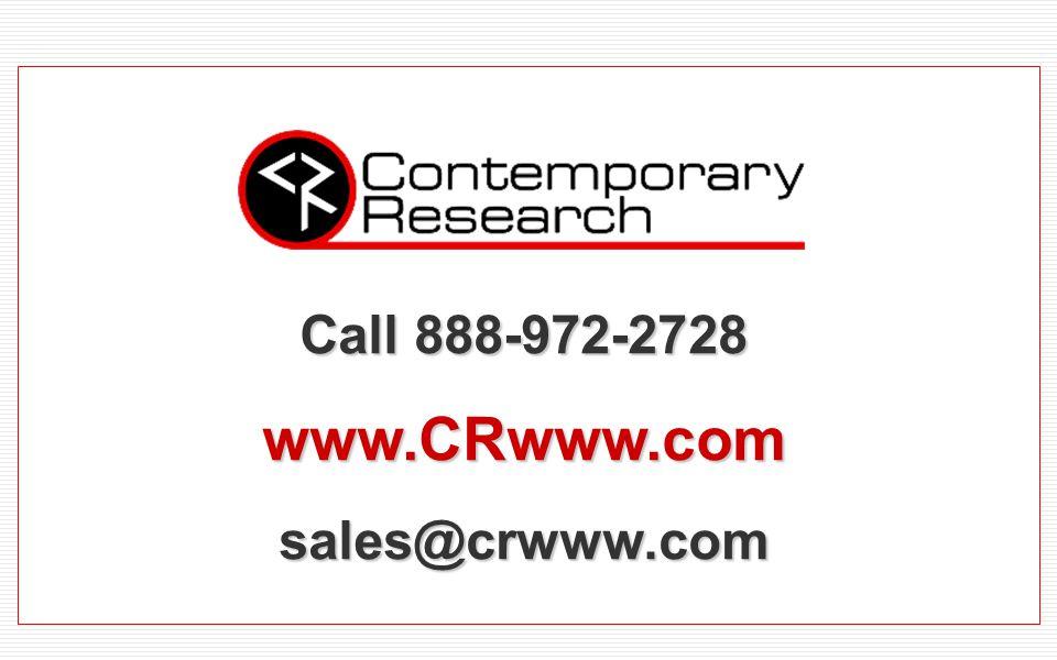 Call 888-972-2728 www.CRwww.comsales@crwww.com