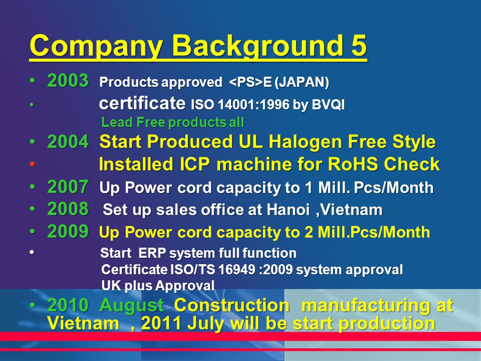 Company Background 5 2003 Products approved E (JAPAN)2003 Products approved E (JAPAN) certificate ISO 14001:1996 by BVQI certificate ISO 14001:1996 by