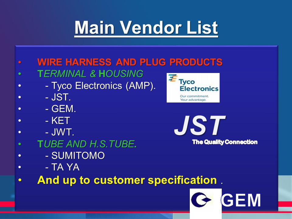 WIRE HARNESS AND PLUG PRODUCTSWIRE HARNESS AND PLUG PRODUCTS TERMINAL & HOUSINGTERMINAL & HOUSING - Tyco Electronics (AMP). - Tyco Electronics (AMP).