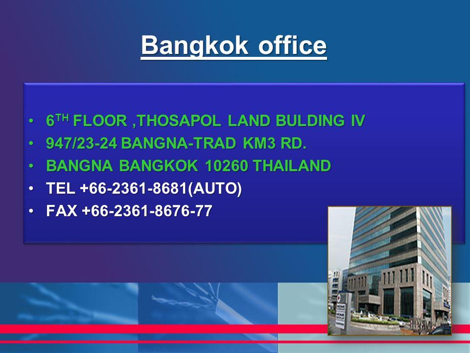 Bangkok office 6 TH FLOOR,THOSAPOL LAND BULDING IV6 TH FLOOR,THOSAPOL LAND BULDING IV 947/23-24 BANGNA-TRAD KM3 RD.947/23-24 BANGNA-TRAD KM3 RD. BANGN