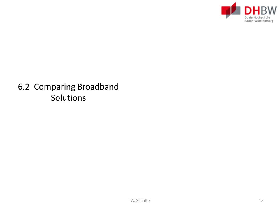 6.2 Comparing Broadband Solutions W. Schulte12