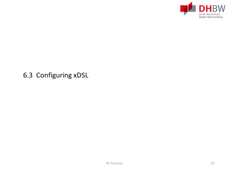 6.3 Configuring xDSL W. Schulte23