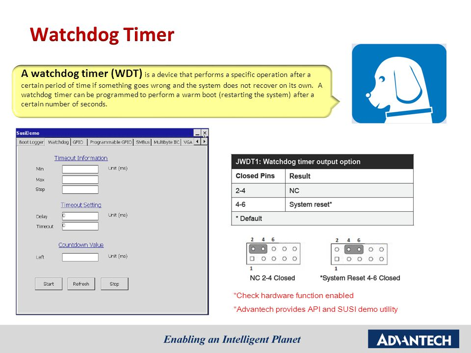 A watchdog timer (WDT) is a device that performs a specific operation after a certain period of time if something goes wrong and the system does not r