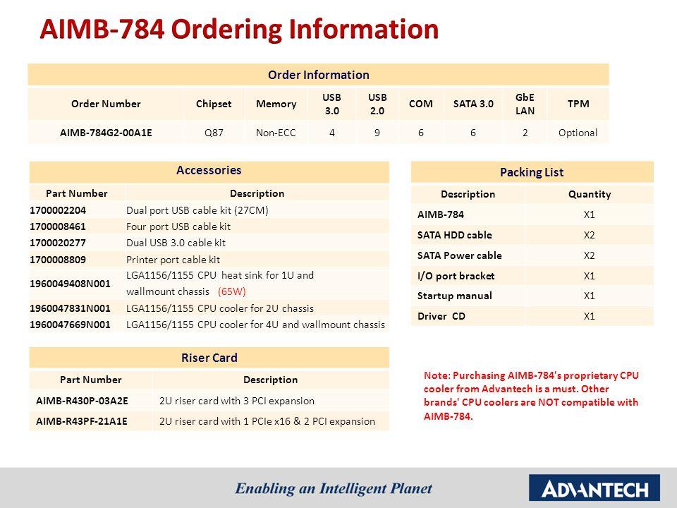 Order Information Order NumberChipsetMemory USB 3.0 USB 2.0 COMSATA 3.0 GbE LAN TPM AIMB-784G2-00A1EQ87Non-ECC49662Optional Packing List DescriptionQuantity AIMB-784X1 SATA HDD cableX2 SATA Power cableX2 I/O port bracketX1 Startup manualX1 Driver CDX1 Note: Purchasing AIMB-784 s proprietary CPU cooler from Advantech is a must.
