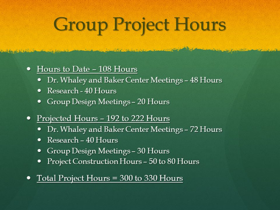 Group Project Hours Hours to Date – 108 Hours Hours to Date – 108 Hours Dr.