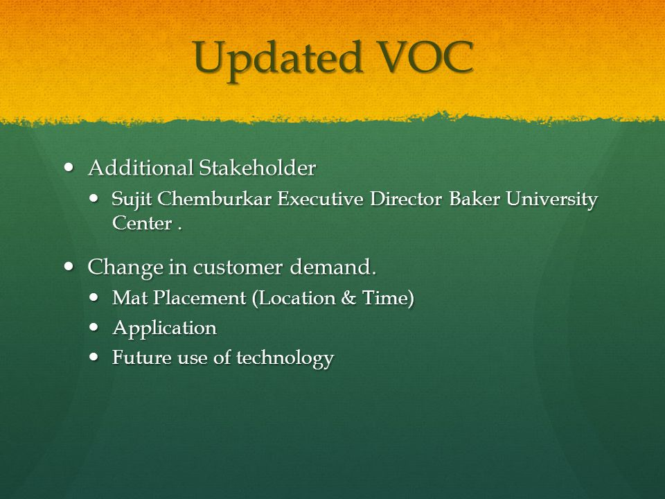 Updated VOC Additional Stakeholder Additional Stakeholder Sujit Chemburkar Executive Director Baker University Center.