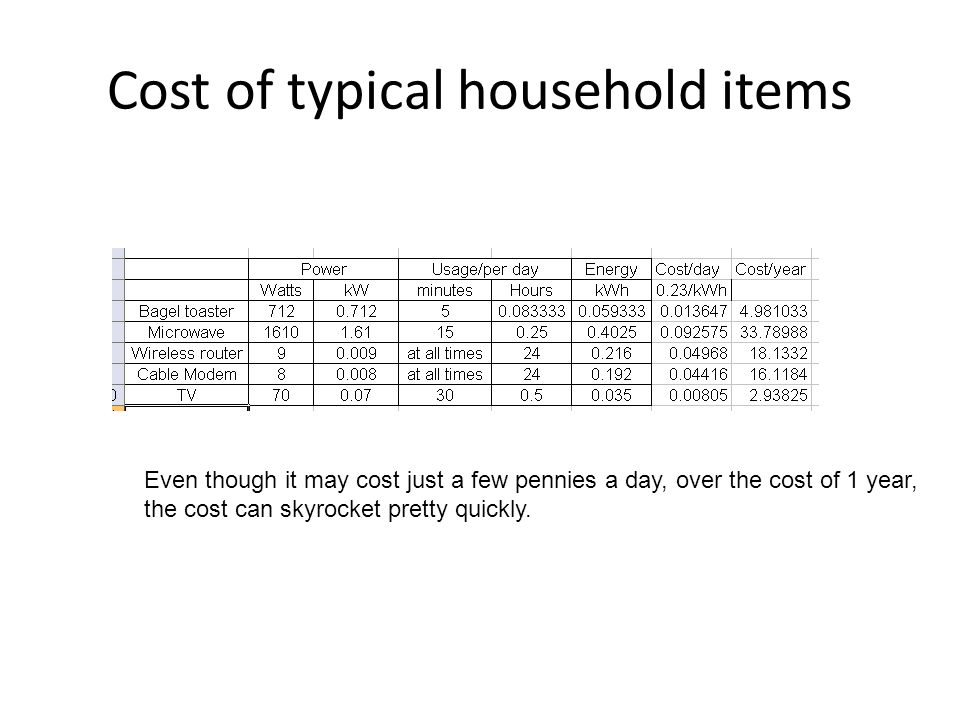 Cost of typical household items Even though it may cost just a few pennies a day, over the cost of 1 year, the cost can skyrocket pretty quickly.
