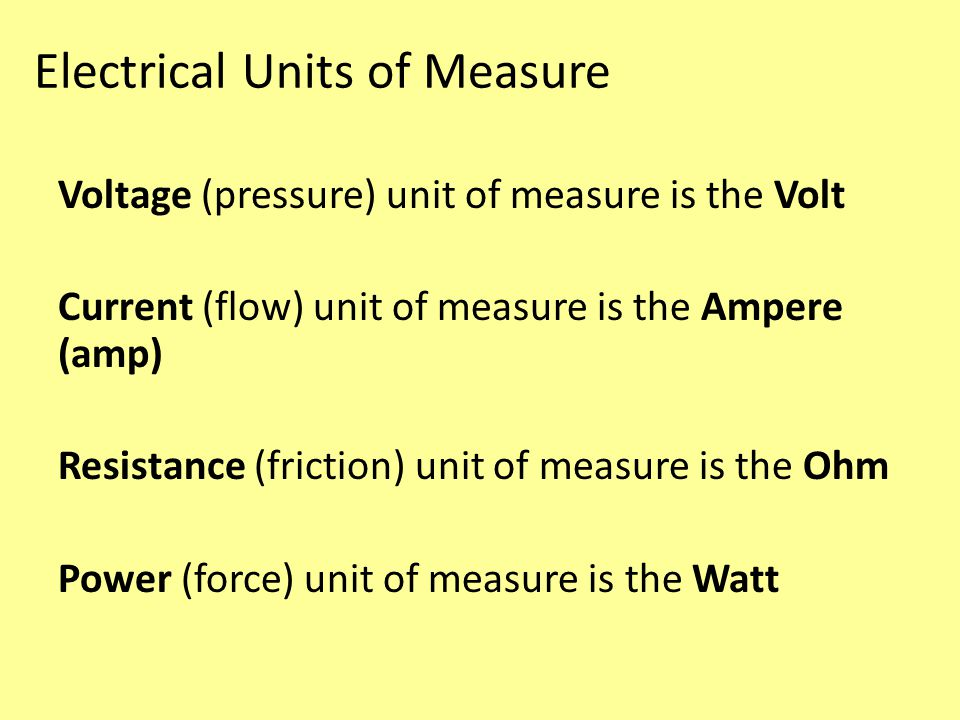 Electrical Units of Measure Voltage (pressure) unit of measure is the Volt Current (flow) unit of measure is the Ampere (amp) Resistance (friction) unit of measure is the Ohm Power (force) unit of measure is the Watt
