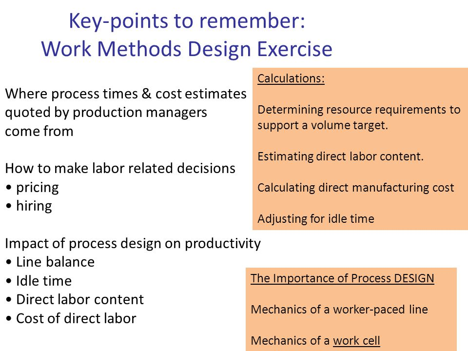 Where process times & cost estimates quoted by production managers come from How to make labor related decisions pricing hiring Impact of process desi