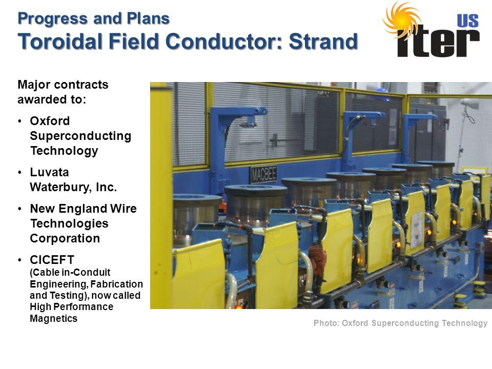 Progress and Plans Toroidal Field Conductor: Strand Photo: Oxford Superconducting Technology Major contracts awarded to: Oxford Superconducting Technology Luvata Waterbury, Inc.