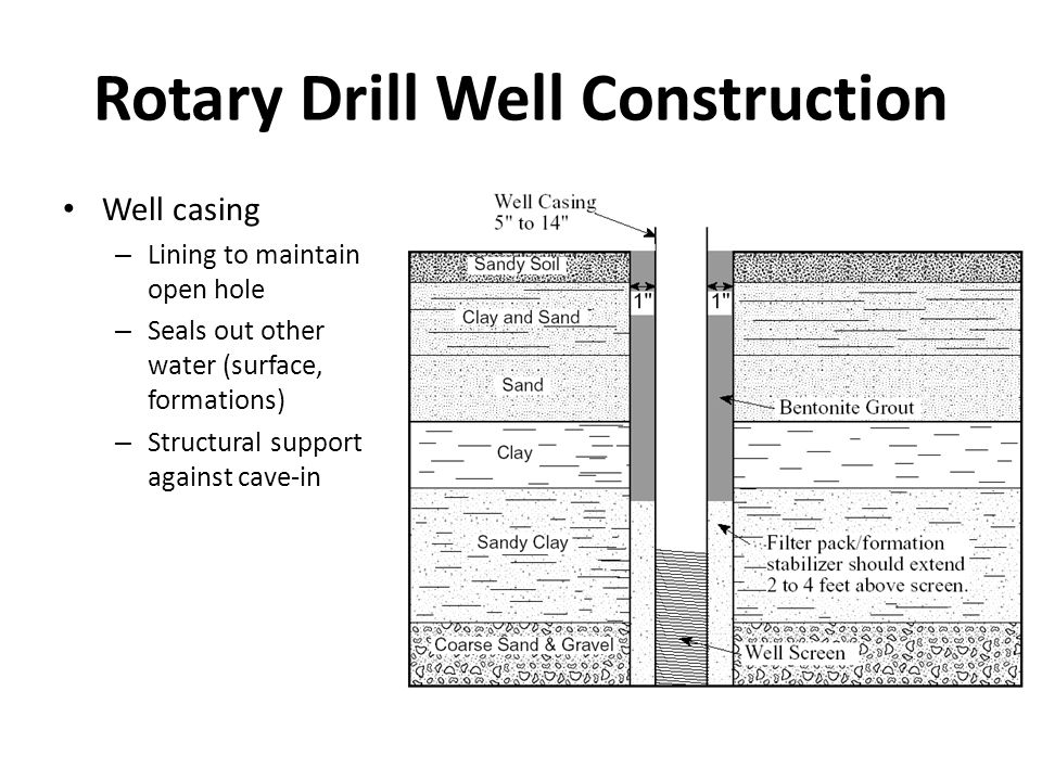 Rotary Drill Well Construction Well casing – Lining to maintain open hole – Seals out other water (surface, formations) – Structural support against cave-in