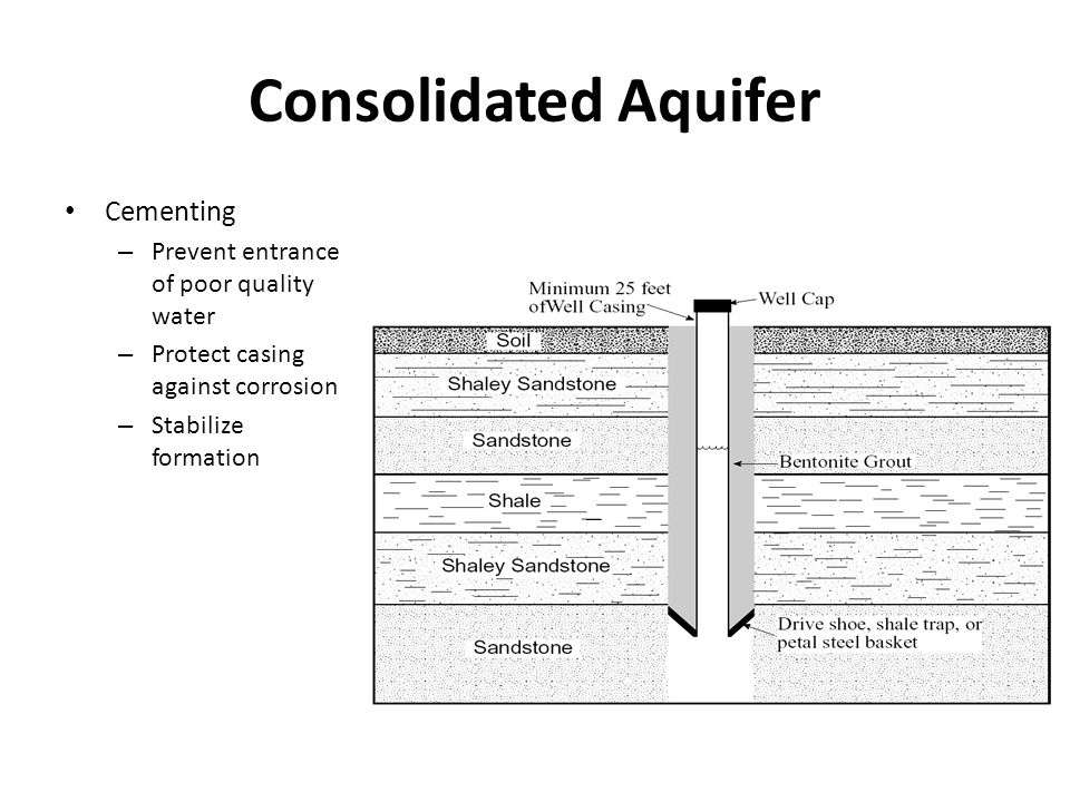 Consolidated Aquifer Cementing – Prevent entrance of poor quality water – Protect casing against corrosion – Stabilize formation