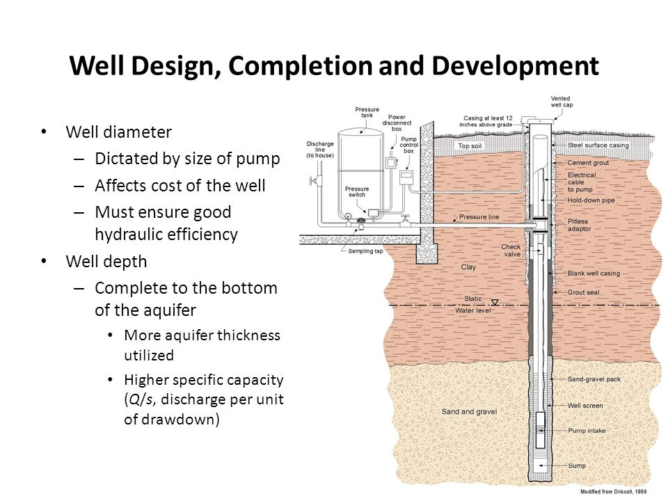 Well Design, Completion and Development Well diameter – Dictated by size of pump – Affects cost of the well – Must ensure good hydraulic efficiency Well depth – Complete to the bottom of the aquifer More aquifer thickness utilized Higher specific capacity (Q/s, discharge per unit of drawdown)