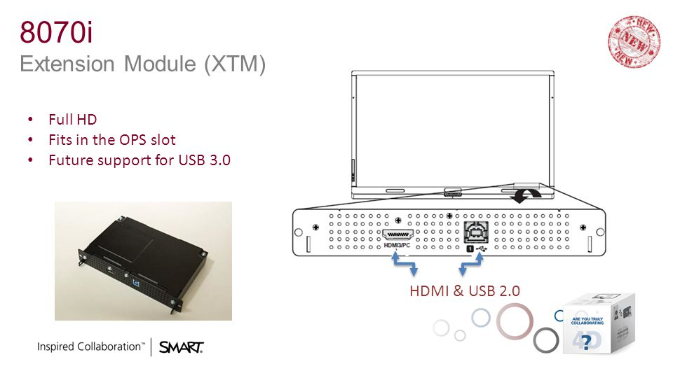 8070i Extension Module (XTM) HDMI & USB 2.0 Full HD Fits in the OPS slot Future support for USB 3.0