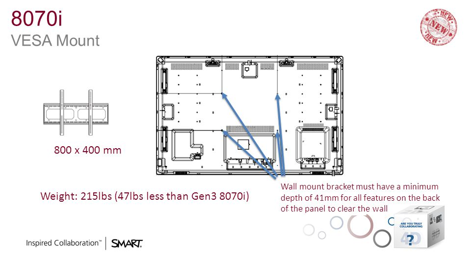 8070i VESA Mount 800 x 400 mm Weight: 215lbs (47lbs less than Gen3 8070i) Wall mount bracket must have a minimum depth of 41mm for all features on the back of the panel to clear the wall