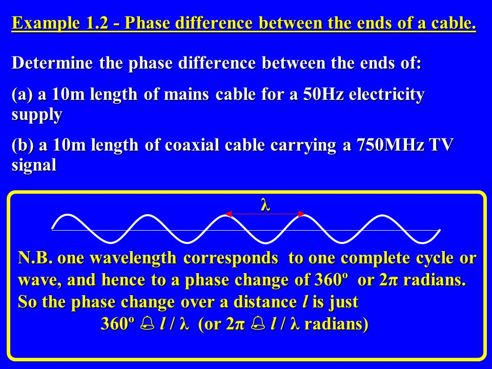Example 1.2 - Phase difference between the ends of a cable. Determine the phase difference between the ends of: (a) a 10m length of mains cable for a