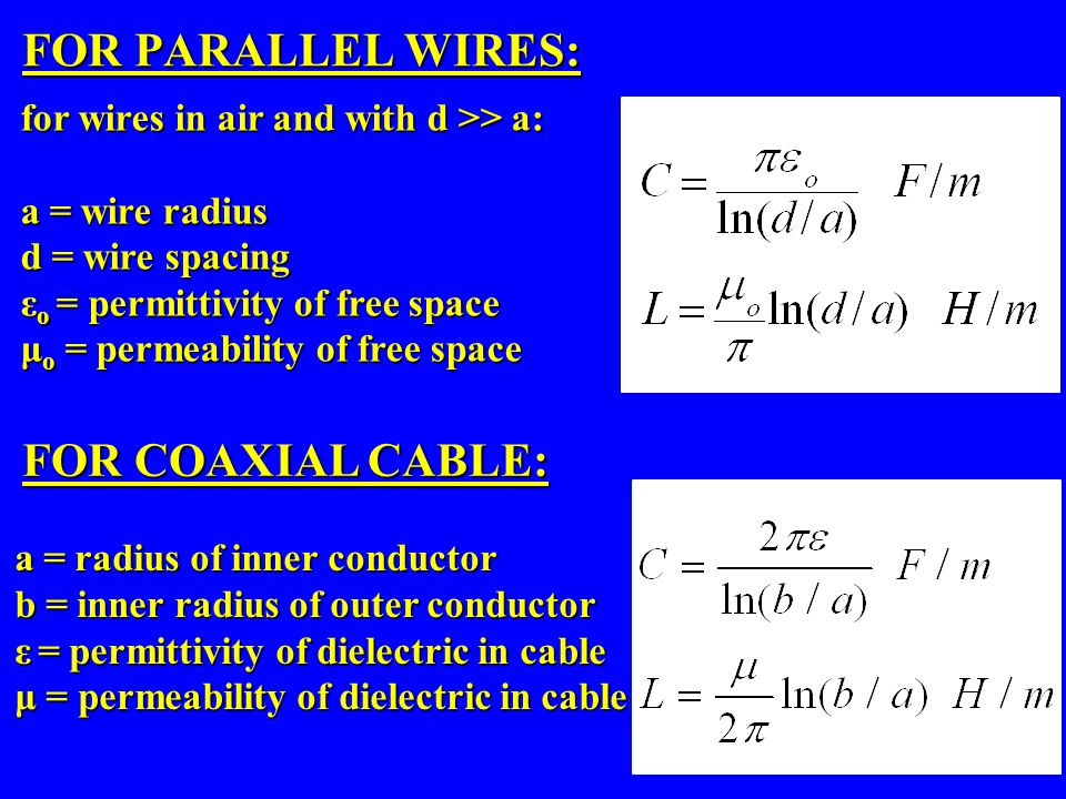 FOR PARALLEL WIRES: for wires in air and with d >> a: a = wire radius d = wire spacing ε o = permittivity of free space μ o = permeability of free spa