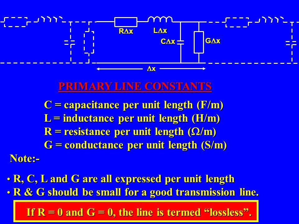 C = capacitance per unit length (F/m) L = inductance per unit length (H/m) R = resistance per unit length ( /m) G = conductance per unit length (S/m)