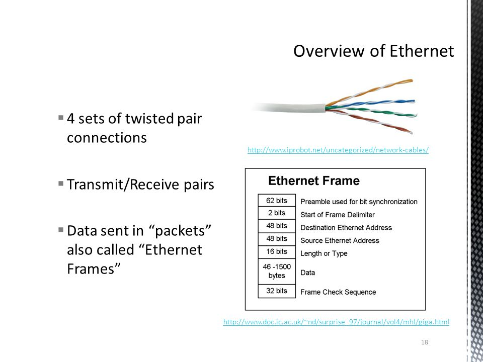 4 sets of twisted pair connections Transmit/Receive pairs Data sent in packets also called Ethernet Frames