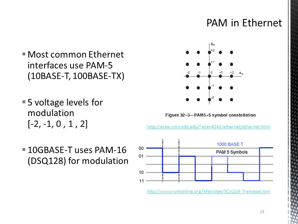 Most common Ethernet interfaces use PAM-5 (10BASE-T, 100BASE-TX) 5 voltage levels for modulation [-2, -1, 0, 1, 2] 10GBASE-T uses PAM-16 (DSQ128) for modulation