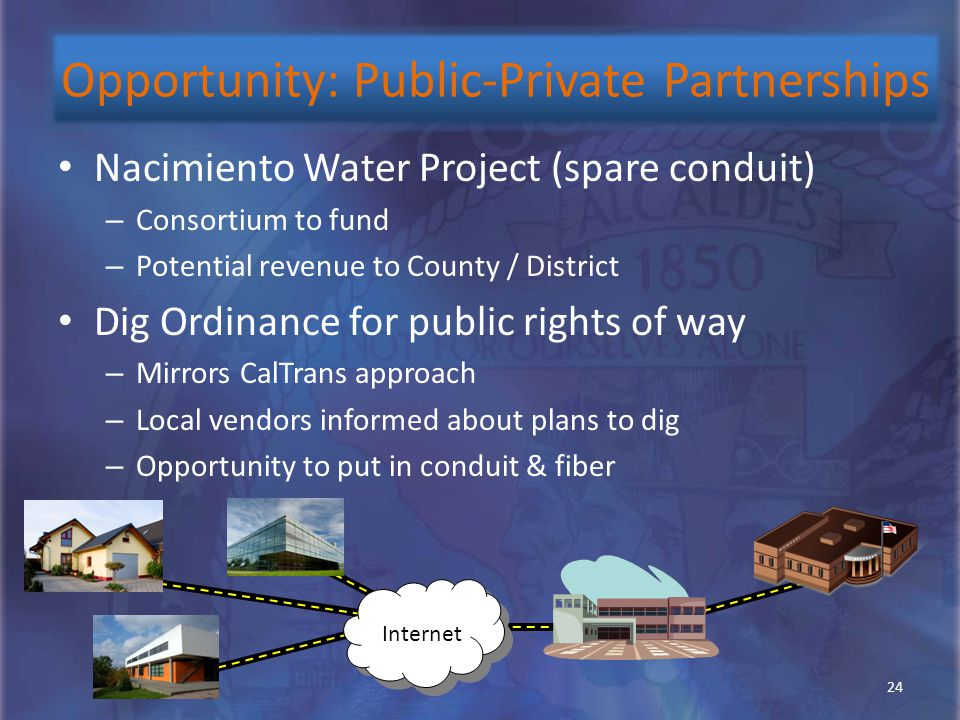 Nacimiento Water Project (spare conduit) – Consortium to fund – Potential revenue to County / District Dig Ordinance for public rights of way – Mirror