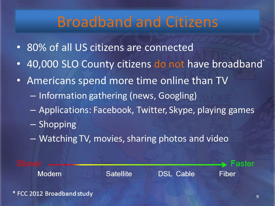 Broadband and Citizens 80% of all US citizens are connected 40,000 SLO County citizens do not have broadband Americans spend more time online than TV