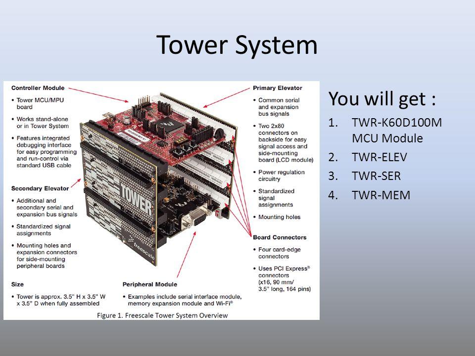 Tower System You will get : 1.TWR-K60D100M MCU Module 2.TWR-ELEV 3.TWR-SER 4.TWR-MEM