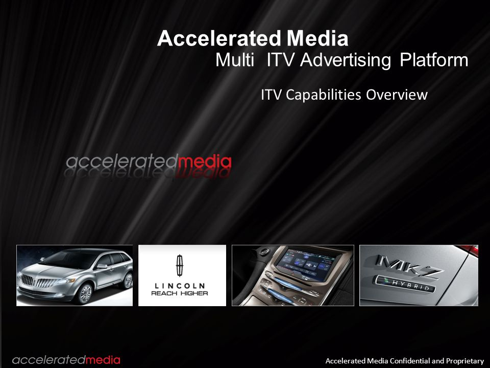 Accelerated Media Multi ITV Advertising Platform ITV Capabilities Overview Accelerated Media Confidential and Proprietary