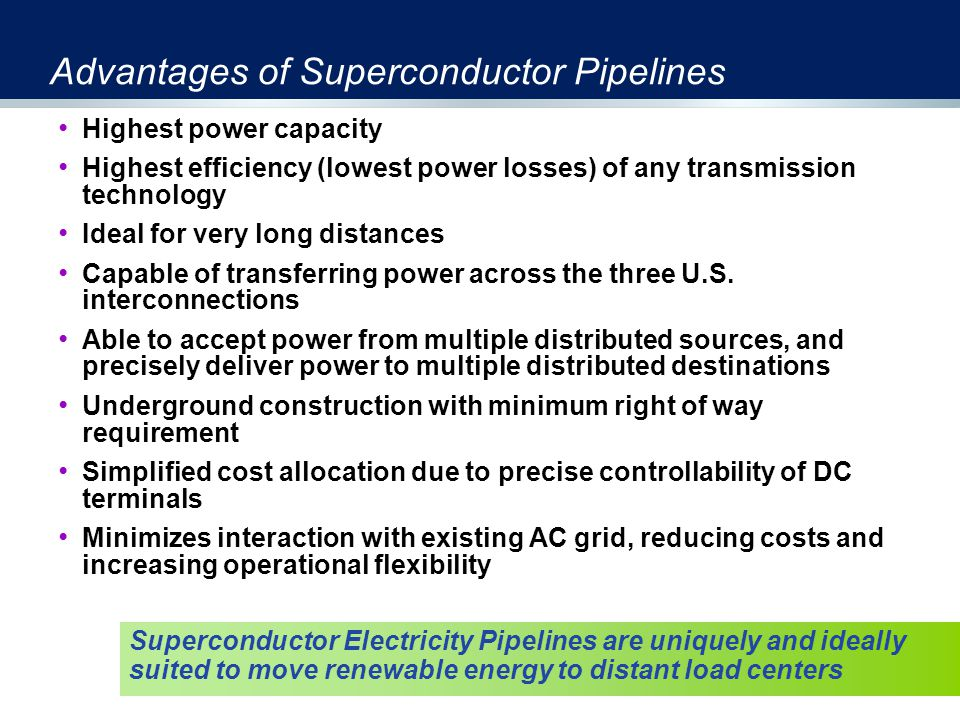Advantages of Superconductor Pipelines Highest power capacity Highest efficiency (lowest power losses) of any transmission technology Ideal for very long distances Capable of transferring power across the three U.S.