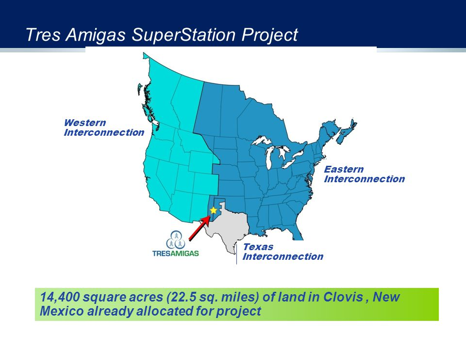 Tres Amigas SuperStation Project Western Interconnection Eastern Interconnection Texas Interconnection 14,400 square acres (22.5 sq. miles) of land in