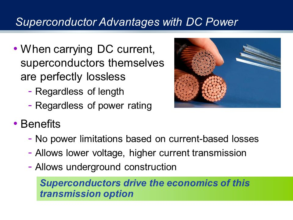 Superconductor Advantages with DC Power When carrying DC current, superconductors themselves are perfectly lossless - Regardless of length - Regardless of power rating Benefits - No power limitations based on current-based losses - Allows lower voltage, higher current transmission - Allows underground construction Superconductors drive the economics of this transmission option