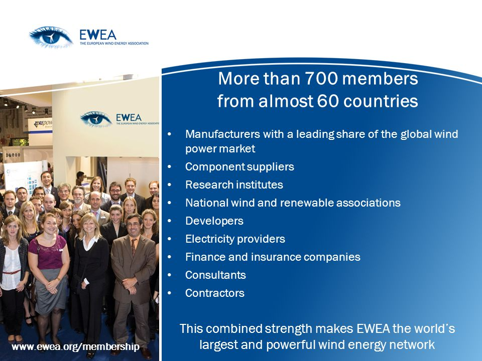 More than 700 members from almost 60 countries Manufacturers with a leading share of the global wind power market Component suppliers Research institu