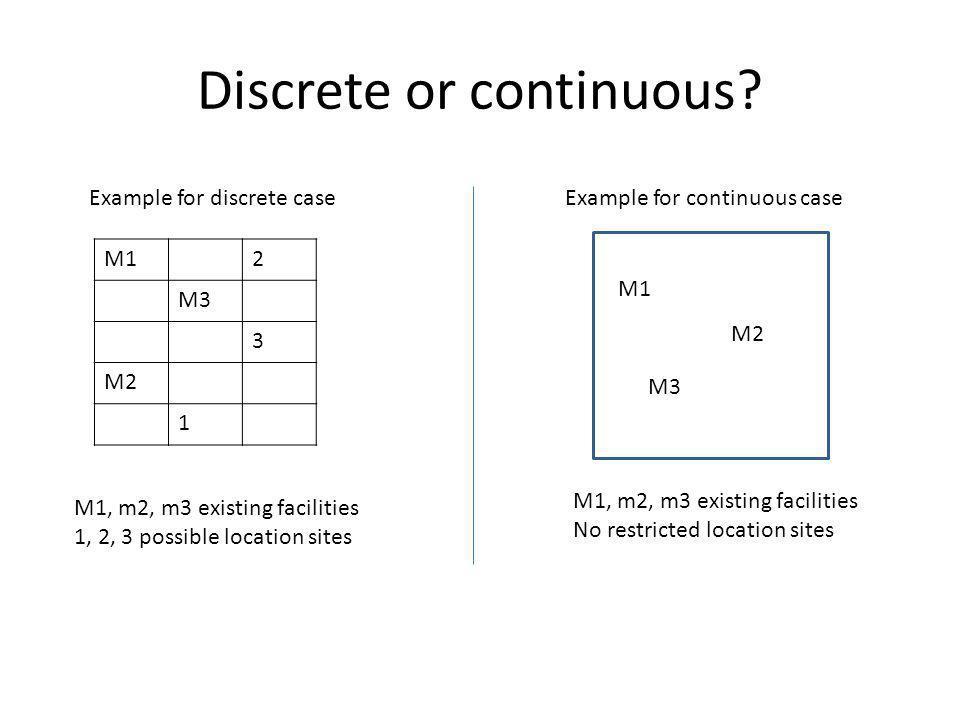 Discrete or continuous? M12 M3 3 M2 1 Example for discrete case M1, m2, m3 existing facilities 1, 2, 3 possible location sites Example for continuous