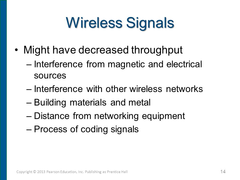 Wireless Signals Might have decreased throughput –Interference from magnetic and electrical sources –Interference with other wireless networks –Buildi