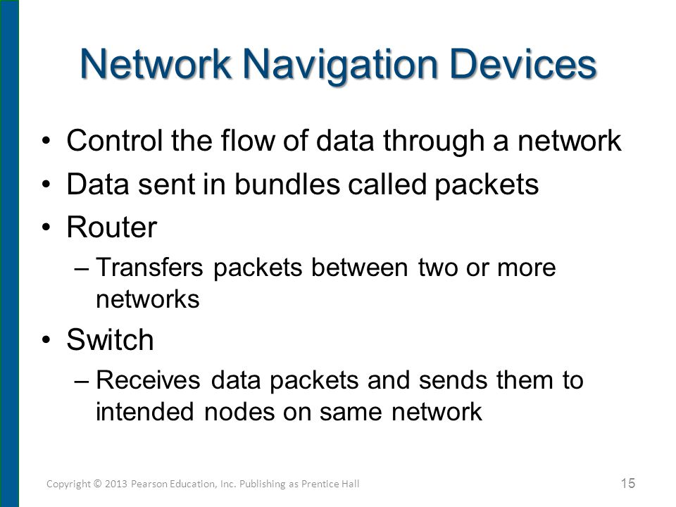 Network Navigation Devices Control the flow of data through a network Data sent in bundles called packets Router –Transfers packets between two or mor