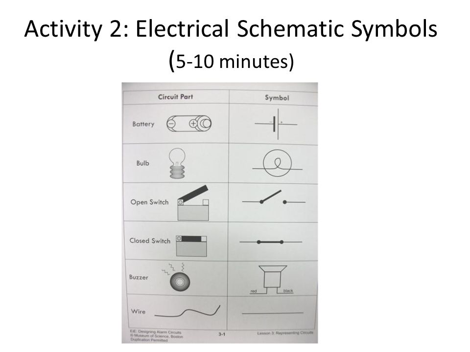 Activity 2: Electrical Schematic Symbols ( 5-10 minutes)