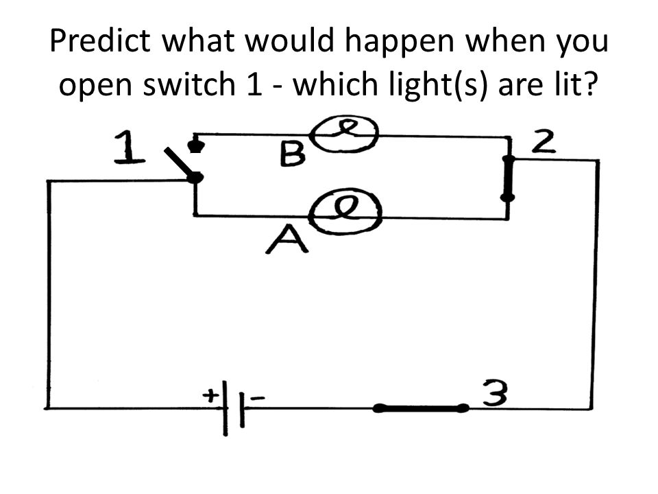 Predict what would happen when you open switch 1 - which light(s) are lit