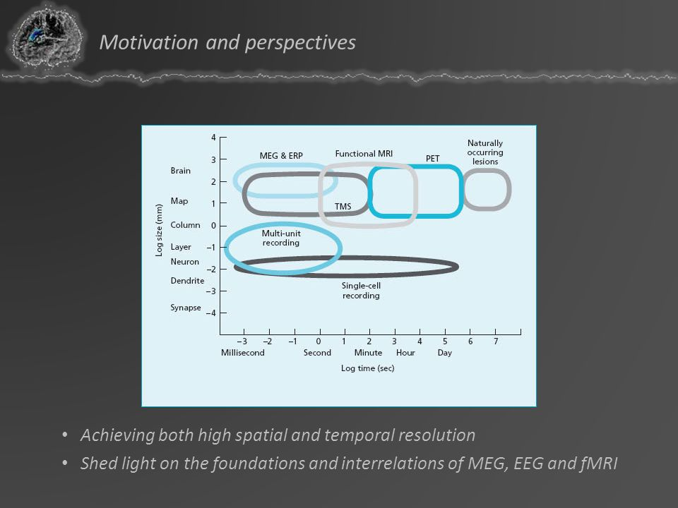 Achieving both high spatial and temporal resolution Shed light on the foundations and interrelations of MEG, EEG and fMRI Motivation and perspectives