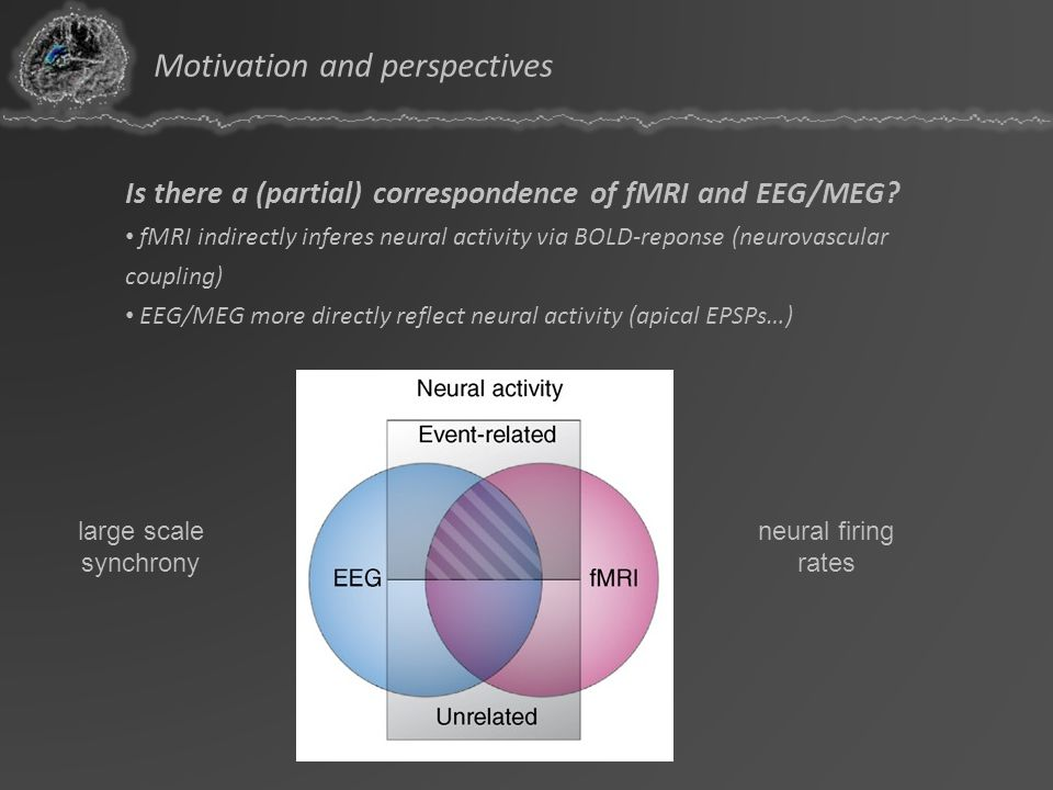 Is there a (partial) correspondence of fMRI and EEG/MEG? fMRI indirectly inferes neural activity via BOLD-reponse (neurovascular coupling) EEG/MEG mor