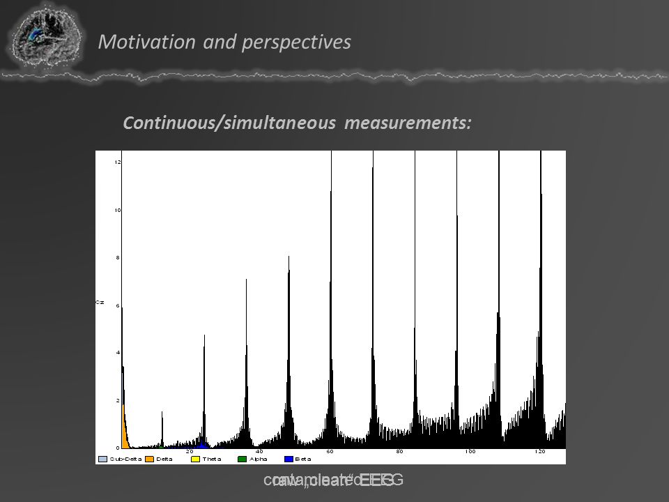 Continuous/simultaneous measurements: temporal correlation of EEG and fMRI avoidance of order effects semi-optimized design strongly degraded signal q