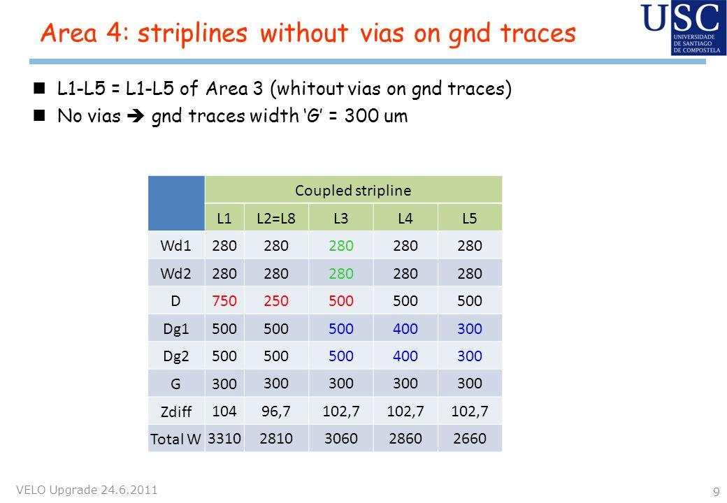 nL1-L5 = L1-L5 of Area 3 (whitout vias on gnd traces) nNo vias gnd traces width G = 300 um Area 4: striplines without vias on gnd traces VELO Upgrade