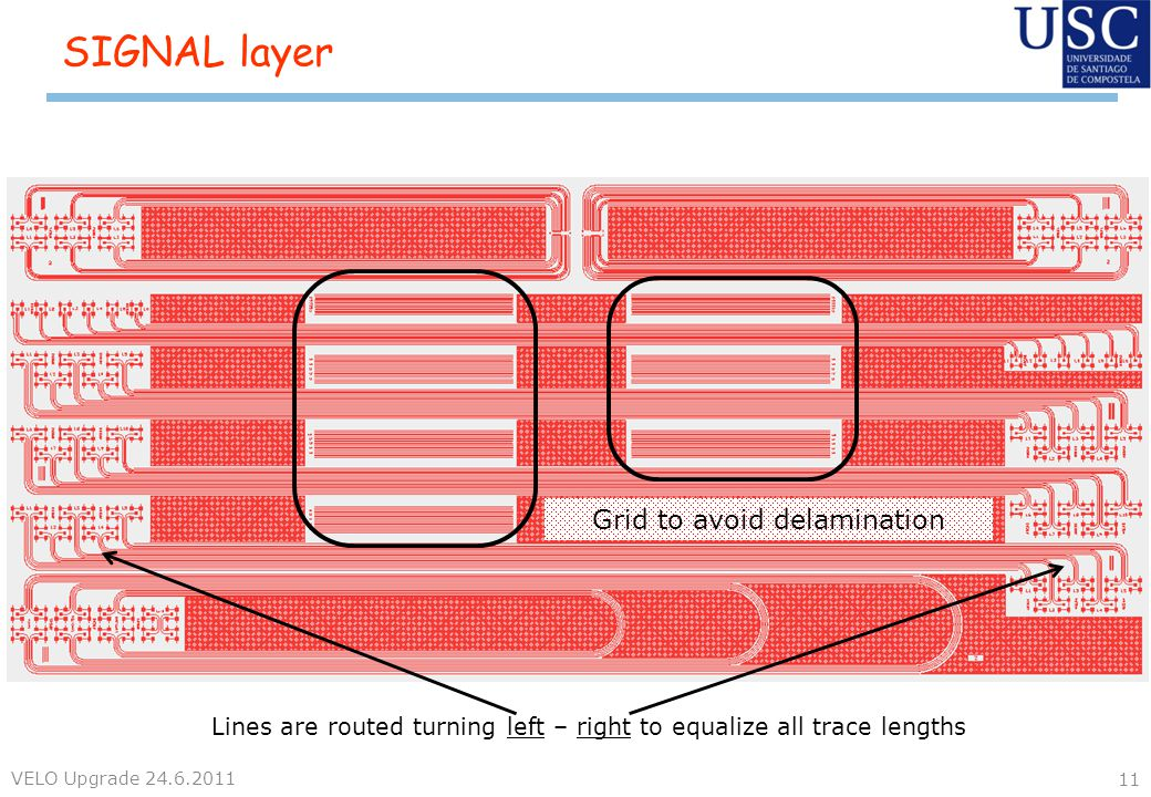 SIGNAL layer VELO Upgrade 24.6.2011 11 Lines are routed turning left – right to equalize all trace lengths Grid to avoid delamination