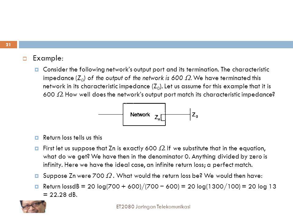 Good return loss values are in the range of 25 dB to 35 dB ET2080 Jaringan Telekomunikasi 22